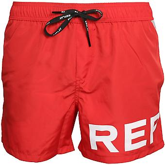 Replay Large Logo Swim Shorts, Red