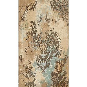 Antike Aubusson 1 bunte Polyester, Baumwolle, L140xP220 cm bedruckten Teppich