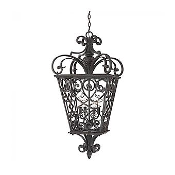 Fort Quinn Hanglamp Light, Black Cast Aluminium, 4 lampen