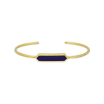 Geometric Prism Lapis Lazuli Bangle in Gold Plated Sterling Silver 270B009602925