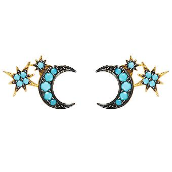 Small Stud Earrings Moon Star Starburst Blue Turquoise Yellow Gold CZ Mini Gift