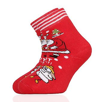 Christmas Snowman Santa Claus Unisex Kids Red Crew Socks