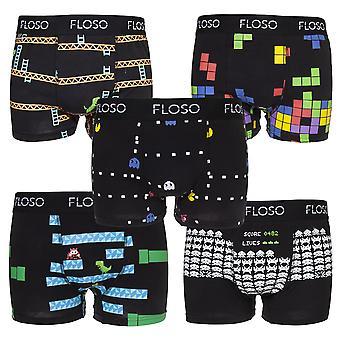 FLOSO Hombres Retro Juegos Boxer Shorts (5 Pares)