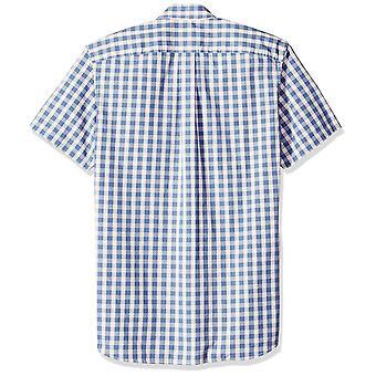 Goodthreads Men&s Standard-Fit Koszula poplin z krótkim rękawem, -indygo check...