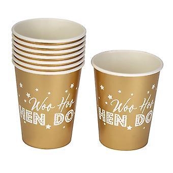 Woo Hoo Hen Do - Hen Party Paper Cups - 8 Pack