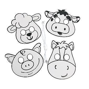 12 Colour and Decorate Your Own Farm Animal Masks