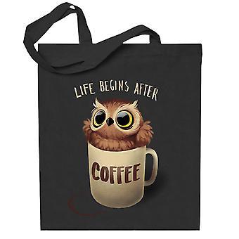 Elämä alkaa, kun kahvi yö pöllö totebag