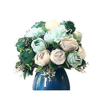 Soga 3Pcs Artificial Silk 15 Heads Flower Bouquet Table Decor Blue