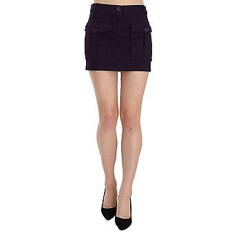Purple High Waist Button Pocket A-line Mini Skirt -- TSH3257776