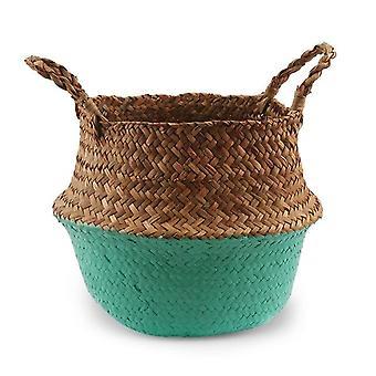 Pot décoratif de fleur de plante de rotin de l'herbe de mer pliant à la main, panier de stockage