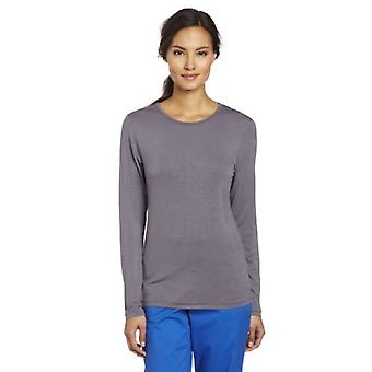 WonderWink Women's Scrubs Silky Long-Sleeve T-Shirt - X-Small - Pewter