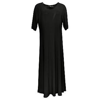 Attitudes by Renee Petite Dress Elbow Sleeve Maxi Black A375422