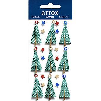 أشجار عيد الميلاد وزخرفة حرفة النجوم التي أرتوز