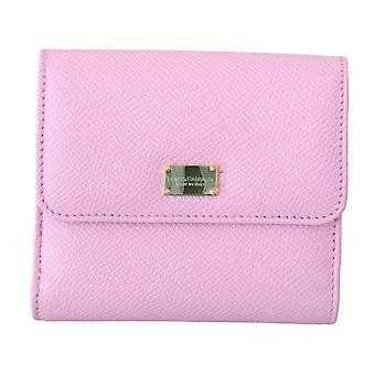 Pink leather bill card holder bifold coin purse wallet