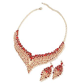 Set of 2 Red Crystal Chandelier Design Collar Necklace 19