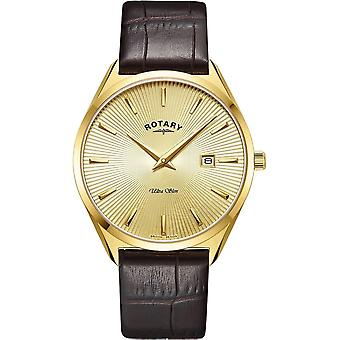 Rotary GS08013-03 Hombres's Ultraslim Gold Tone Case Wristwatch