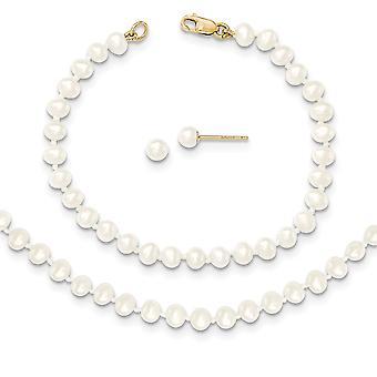 14 Καράτια Κίτρινο χρυσό 3 4 mm γλυκού νερού καλλιεργούνται μαργαριτάρι ιντσών κολιέ βραχιόλι σκουλαρίκια Σετ Κοσμήματα δώρα για τις γυναίκες