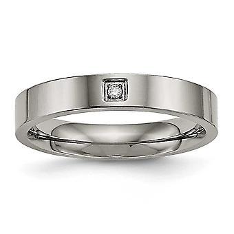 4mm Titanium gravable poleret Flad Comfort Back CZ Cubic Zirconia Simuleret Diamond Ring smykker Gaver til kvinder - Ri