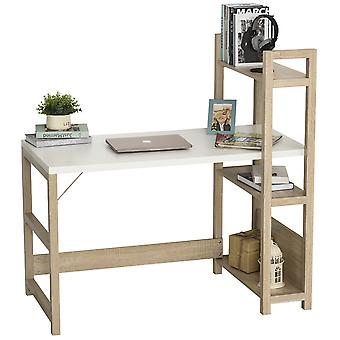 HOMCOM Rectangle Desk with 3-Tier Book Shelf Wide Display Table for Home Study, Office, White Wood Grain