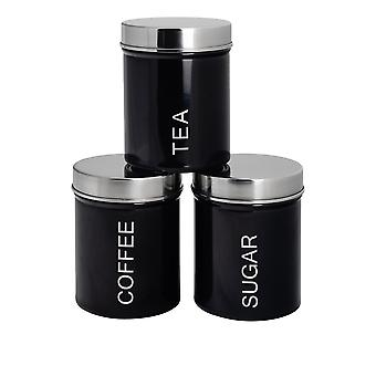 3 Peça Contemporary Tea Coffee Coffee Sugar Canister Set - Aço Kitchen Storage Caddy with Rubber Seal - Preto