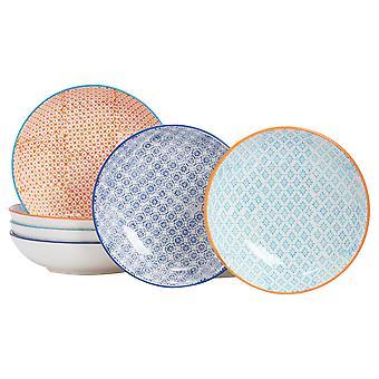 Nicola Spring 6 Piece Hand-Printed Pasta Bowl Set - Japanese Style Porcelain Serving Bowls - 3 Colours - 22cm