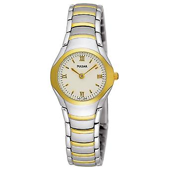 Pulsar damas dos tonos pulsera clásica 50M reloj (Modelo No. PEG406X1)