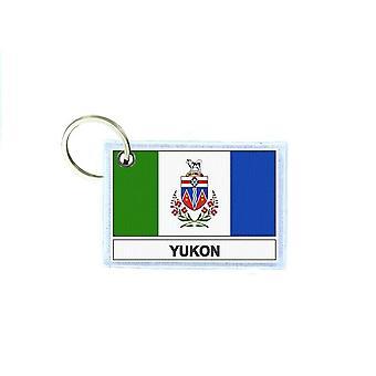 Porte cles cle clefs imprime double face drapeau canada yukon