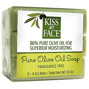 Kiss My Face Pure Olive Oil Bar Soap, Fragrance Free, 12 Oz