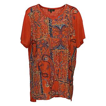 DG2 por Diane Gilman Burnout Impresso e Embelezado Top Orange 706-137