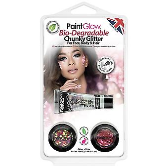 PaintGlow Halloween Fancy Dress Accessories - Bio-degradable Chunky Glitter - Pink & Rose Gold