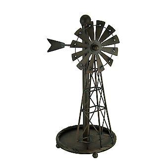 Rustic Distressed Metal Art Windmill Papier Serviette Holder Kitchen Table Décor