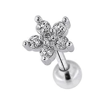 6 CZ Stones Flower 16 قياس الغضاريف الفولاذية الجراحية Helix Tragus الأذن ثقب المجوهرات
