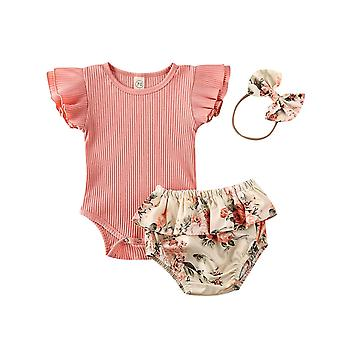 Baby Summer Clothing Infant Newborn Baby Girl Ruffled / Ribbed / Bodysuit,