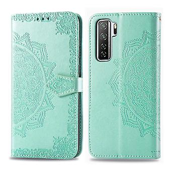 For Huawei P40 Lite 5G / Nova 7 SE Halfway Mandala Embossing Pattern Horizontal Flip PU Leather Case with Card Slots & Holder & Wallet(Green)