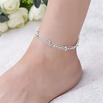 Fashion 925 Sterling Silver Anklet Fine Jewelry Multi-layer Foot-chain