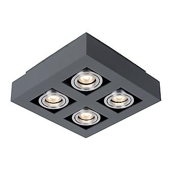 Modern Surface Mounted Black Aluminium 4 Light, GU10