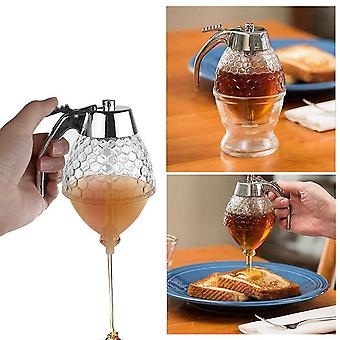 Squeeze Bottle Honey Jar Container Bee Drip Dispenser Kettle Storage Pot Stand Holder Juice Syrup Cup Kitchen Accessories