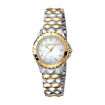 Roberto Cavalli Women'Pearl Dial ruostumattomasta teräksestä valmistettu kello