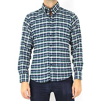 Straight-cut wool-cut plaid shirt