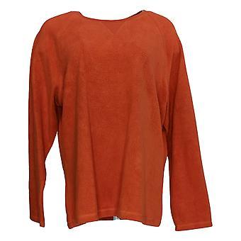 Denim & Co. Women's Baby Sherpa Crew Neck Sweatshirt Orange A58076
