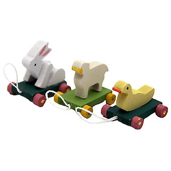 Dolls House 3 Animal Pull Toys Miniature 1:12 Scale Nursery Toy Shop Accessory