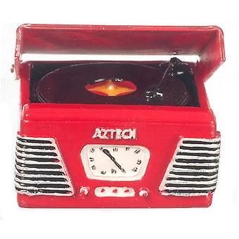 Dolls House 1950's Record Player Turntable In Red Miniature Music Room Accessoire