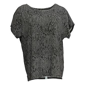 Chiunque donna top accogliente maglia serpente stampa tee grigio A381286