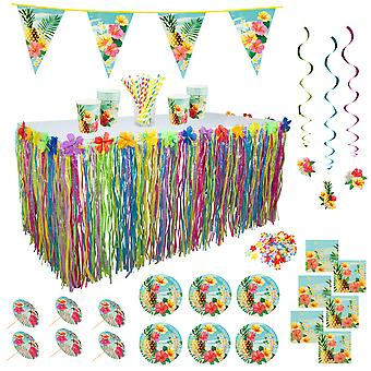 TRIXES 373 Piece Deluxe Hawaiian Luau Party Decorations for tropical Beach Tiki Bar Themed Events