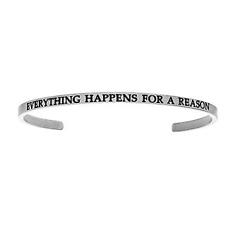 """Intuitions Stainless Steel EVERYTHING HAPPENS FOR A REASON Diamond Accent Cuff  Bangle Bracelet, 7"""""""