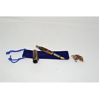 Holz Füllfeder Füllfeder pen fountain pen aus Holz  Pen Ziricote antik metallic Handarbeit Kugelschreiber Geschenk Geschenkidee Unikat Schraubkappe gedrechselt