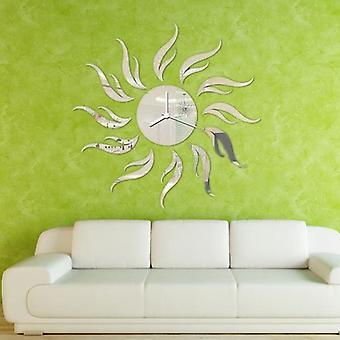 3D diy sunflower shape mirror wall clock livingroom wall stickers office decal decor