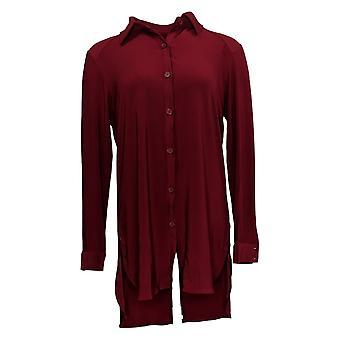 Nina Leonard Women's Top Miracle Matte Jersey Button-Up Shirt Red 663-482