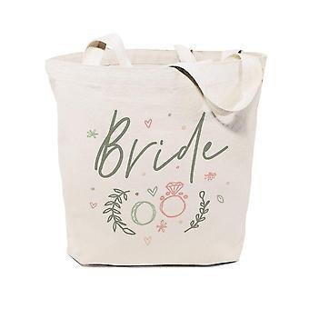 Borsa tote in tela di cotone da sposa floreale