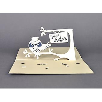 اليدوية اوريغامي 3D البومة يطفو على المنبثقة فتاة صبي عيد ميلاد هدية هدية بطاقة